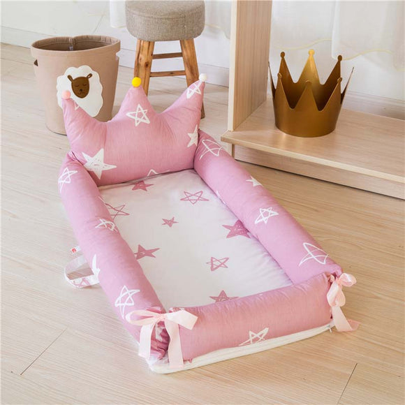Portable Baby Crib For Newborns Cartoon Printing Removable And Washable Crown Baby Nest Folding Children's Bed 0-18M Bionic Cot