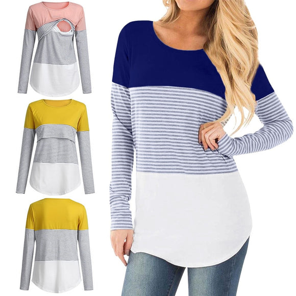 2019 Women Mom Pregnant Nursing T-shirt maternity Embarazada gown Baby Maternity Long Sleeved Striped Blouse Clothes