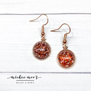 Amber Speckle Dome Earrings