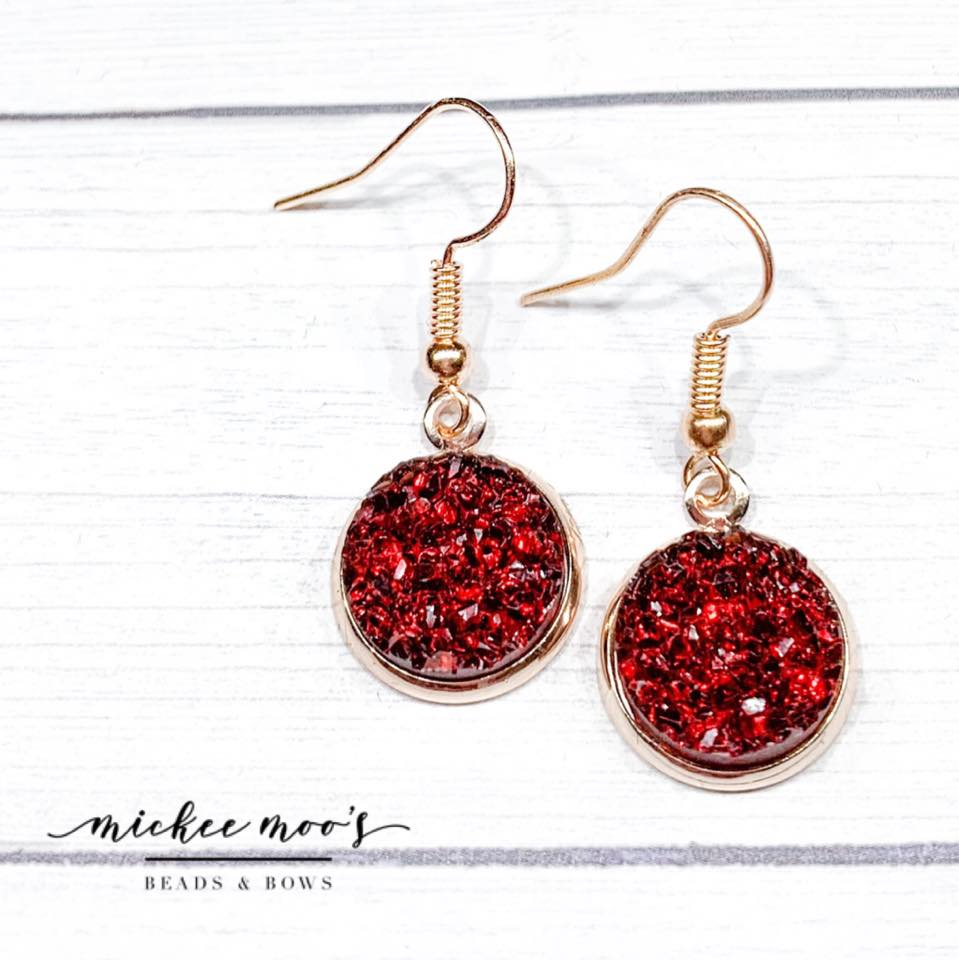 Burgundy Jelly Druzy Earrings