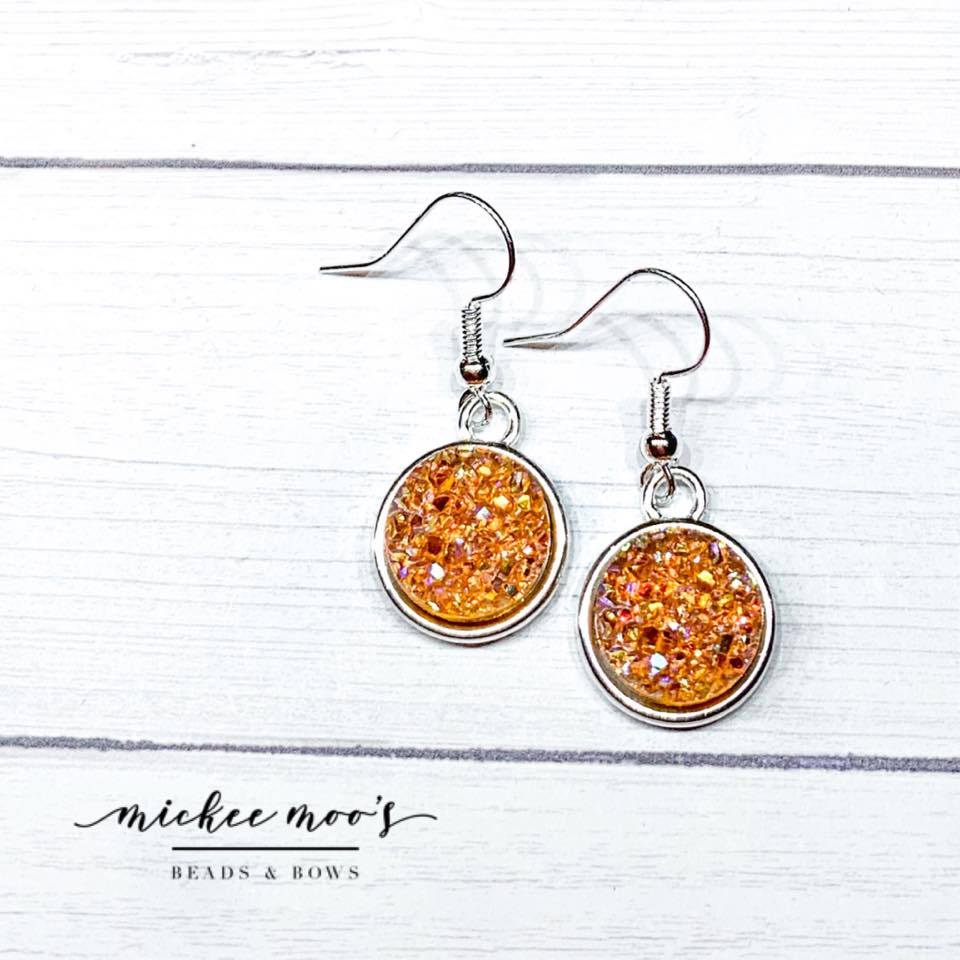 Burnt Orange AB Crystal Druzy Earrings