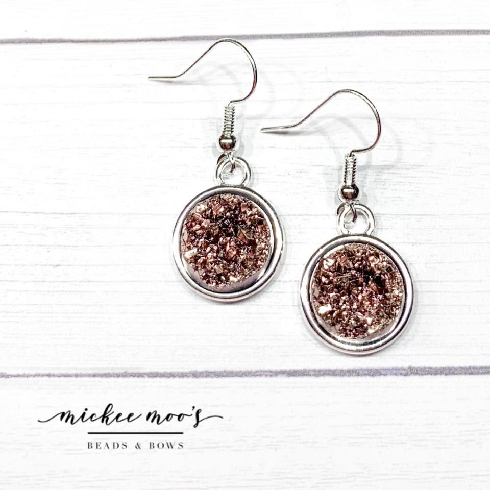 Dark Rose Gold Nugget Druzy Earrings