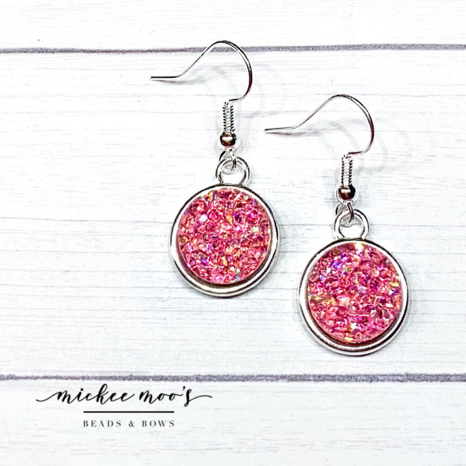 Mauve AB Crystal Druzy Earrings