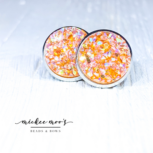 Orange Druzy Earrings