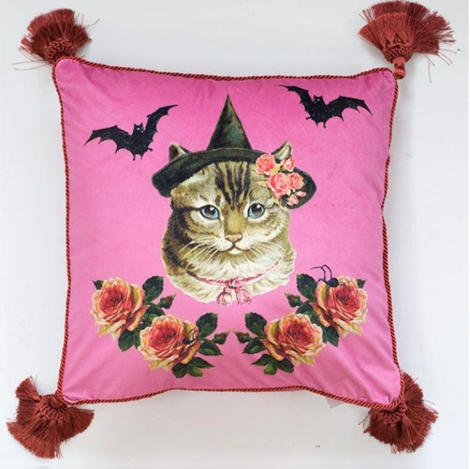 Pink Velvet Witch Cat Cushion Cover