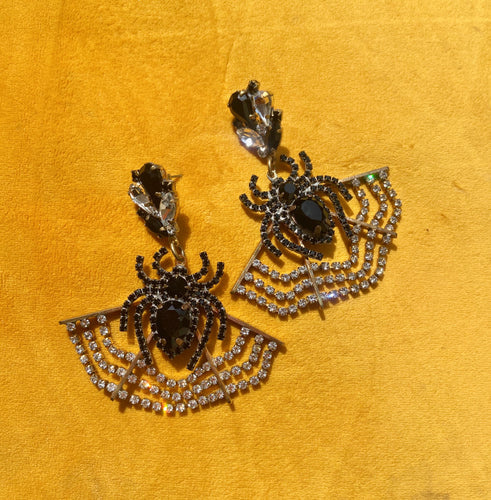 Crystal Spider Earrings