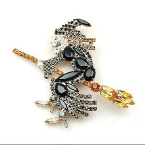Flying Witch Crystal Brooch