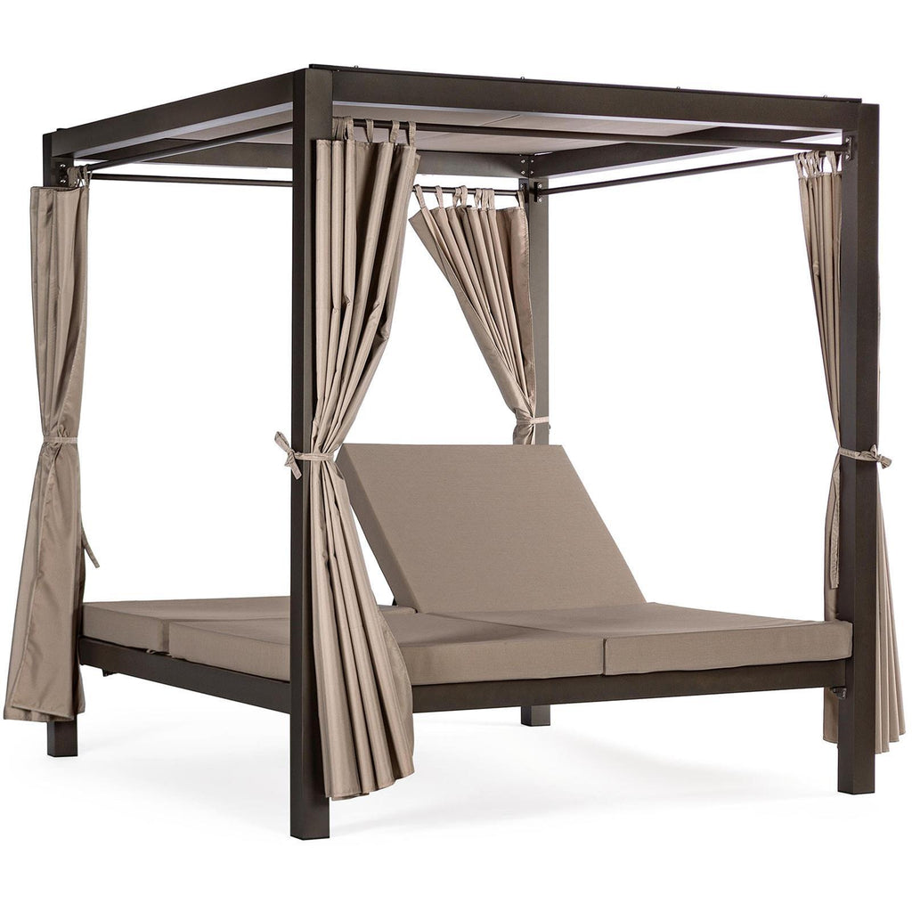 "Lettino ""Daybed Dream"" prendisole ad isola per giardino e piscina, baldacchino reclinabile con tende"
