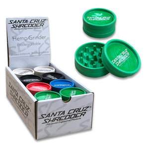 "2.125"" Santa Cruz Mix Colors 2 Piece Shredder Hemp Grinder  - 24ct Display"