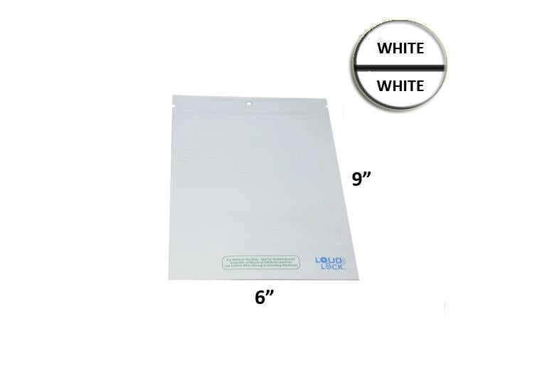 Loud Lock Mylar Bag White/White Opaque 1 Oz - 28 Grams (100, 500 or 1,000 Count)