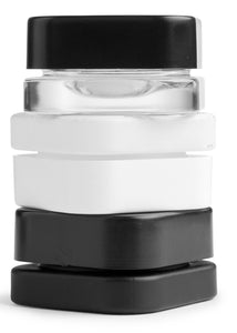 Qube 9mL Square Glass Concentrate Jar - Clear, Opaque Black, or Opaque White Child Resistant