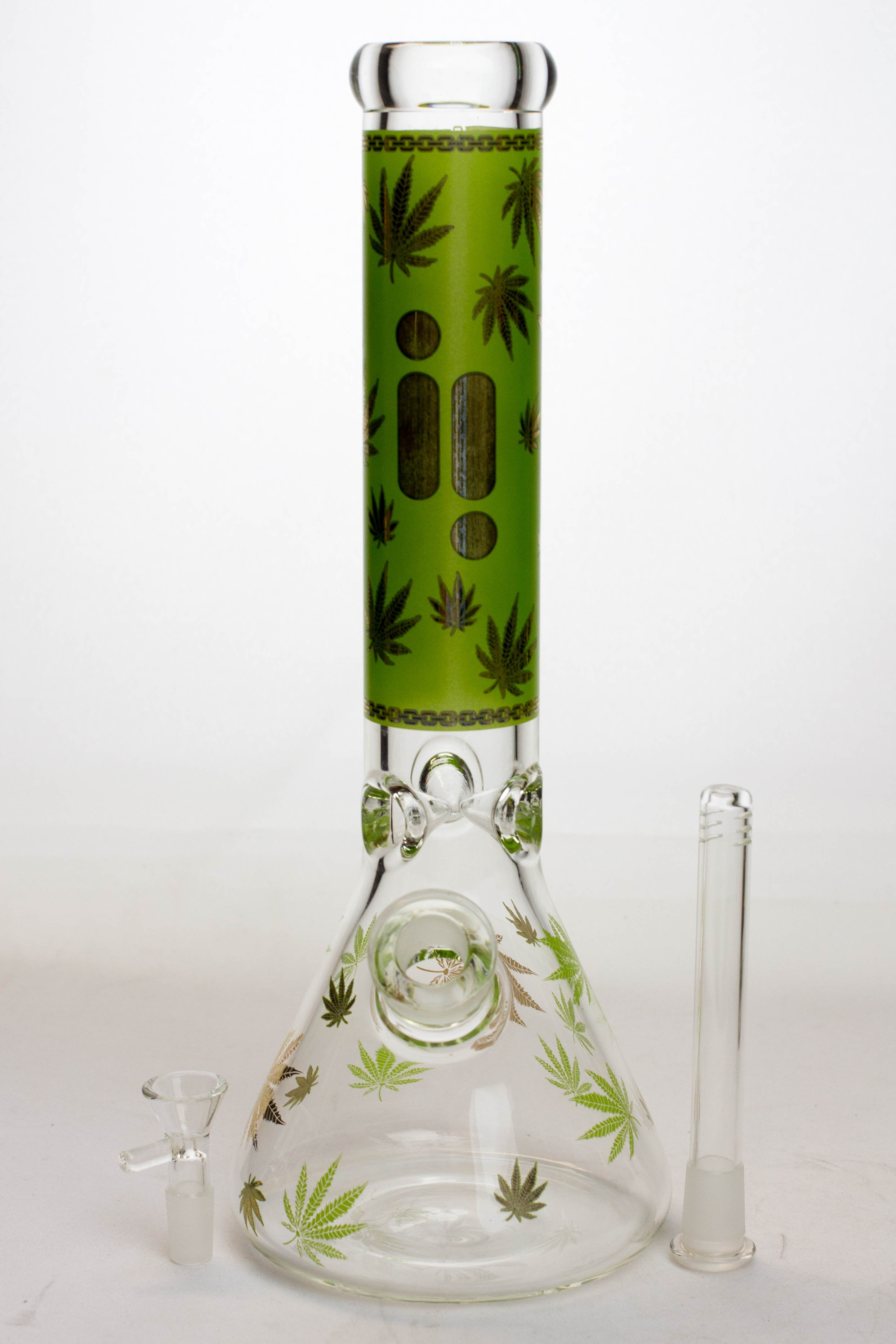 "14"" Infyniti leaf 7 mm glass water bong - Lake shore vibe"