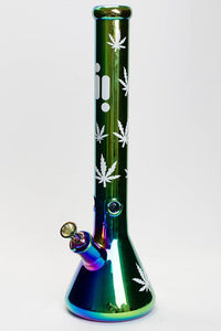 "18"" Infyniti leaf 7 mm metallic glass water bong"