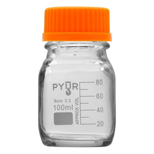Pyur 100ml Glass Concentrate Beaker Reagent Media Storage Bottle GL45 Screw Cap - (1 Count) - Lake shore vibe