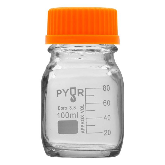 Pyur 100ml Glass Concentrate Beaker Reagent Media Storage Bottle GL45 Screw Cap - (1 Count)