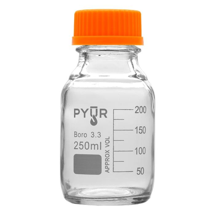 Pyur 250ml Glass Concentrate Beaker Reagent Media Storage Bottle GL45 Screw Cap - (1 Count) - Lake shore vibe
