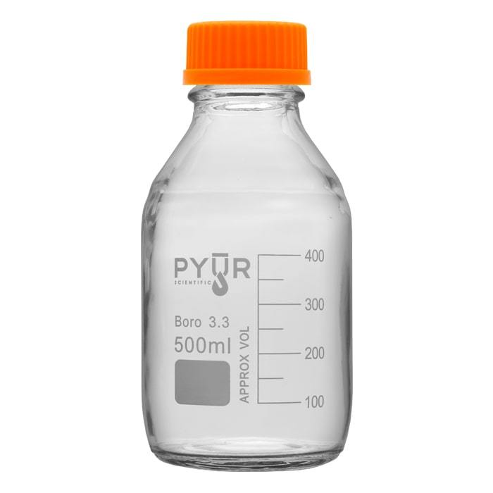 Pyur 500ml Glass Concentrate Beaker Reagent Media Storage Bottle GL45 Screw Cap - (1 Count) - Lake shore vibe