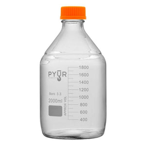 Pyur 2000ml Glass Concentrate Beaker Reagent Media Storage Bottle GL45 Screw Cap (1 Count)