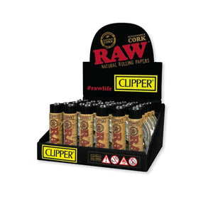 Clipper Natural Cork Lighters - RAW Logo Design (30 Count Display)