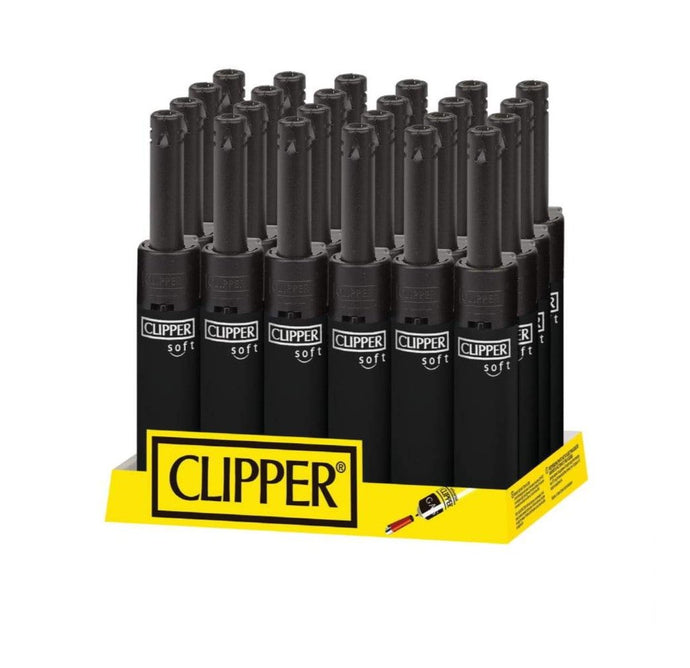 Clipper Lighter Mini Tube Soft Touch Black Top Utility Lighter (24 Count Display)