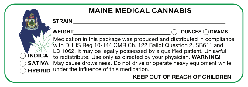 "Maine ""Canna Strain & Weight Label"" 1"" x 3"" Inch 1000 Count - Lake shore vibe"