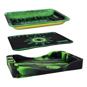 Ooze Dab Depot - 3-in-1 Bundle Set - Metal Rolling Tray, Silicone Tray, and Platinum Cured Mat