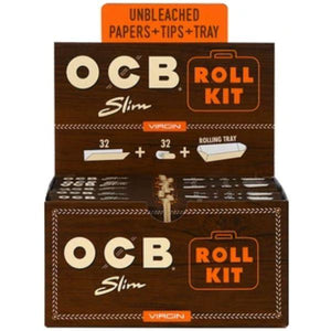 OCB Virgin Unbleached Papers Roll Kit King Size Slim (20 Count Display) - Lake shore vibe