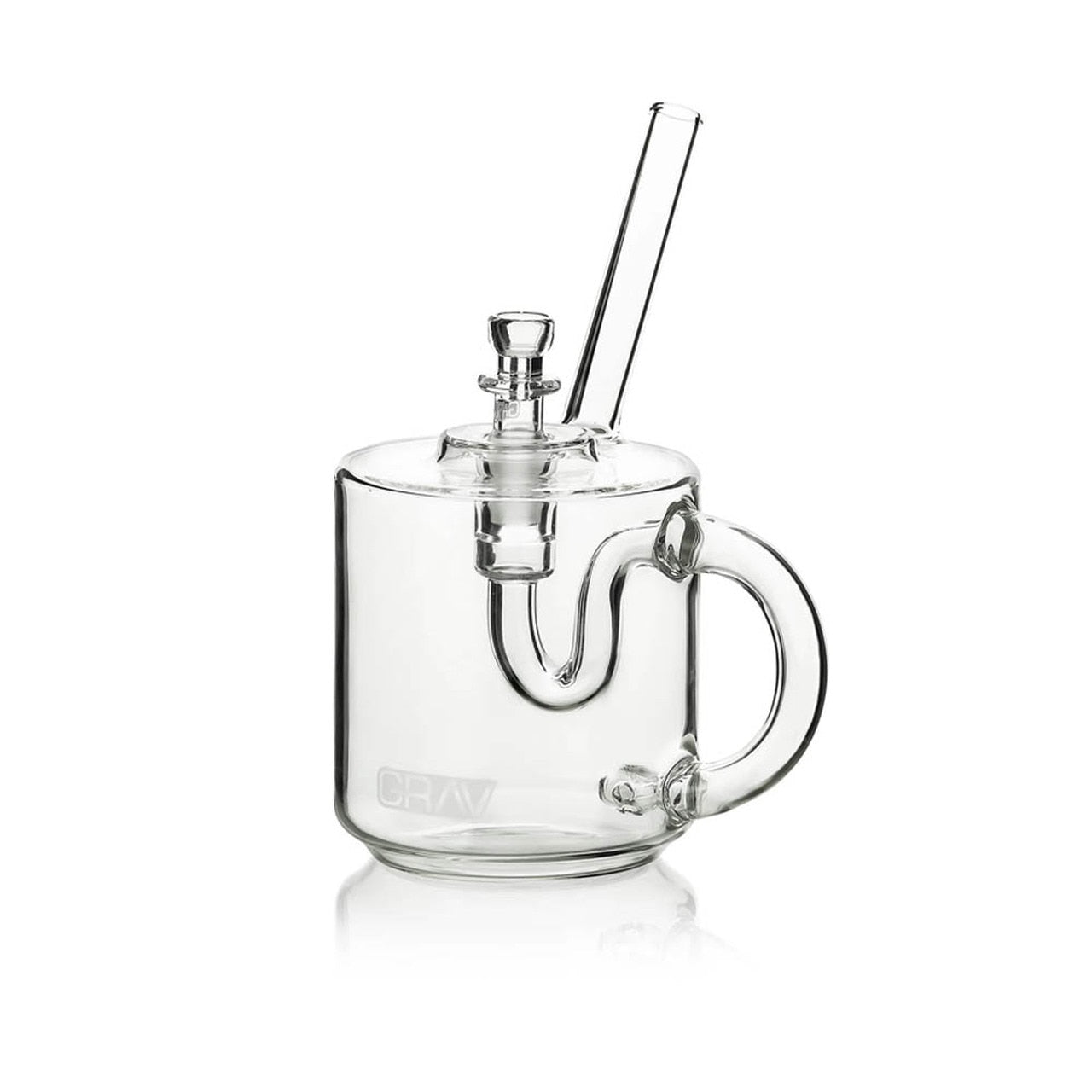 "GRAV Sip Series - 7"" Coffee Mug Bubbler - Clear (14mm Bowl) Fixed 4-Hole - Lake shore vibe"