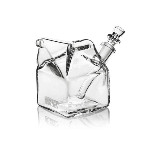 "GRAV Sip Series - 4"" Milk Carton Bubbler - Clear (14mm Bowl) Fixed Downstem - Lake shore vibe"