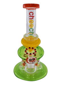 "Cheech 8"" Button Design Thick Glass Water Bubbler With Perc - (1 Count) - Lake shore vibe"