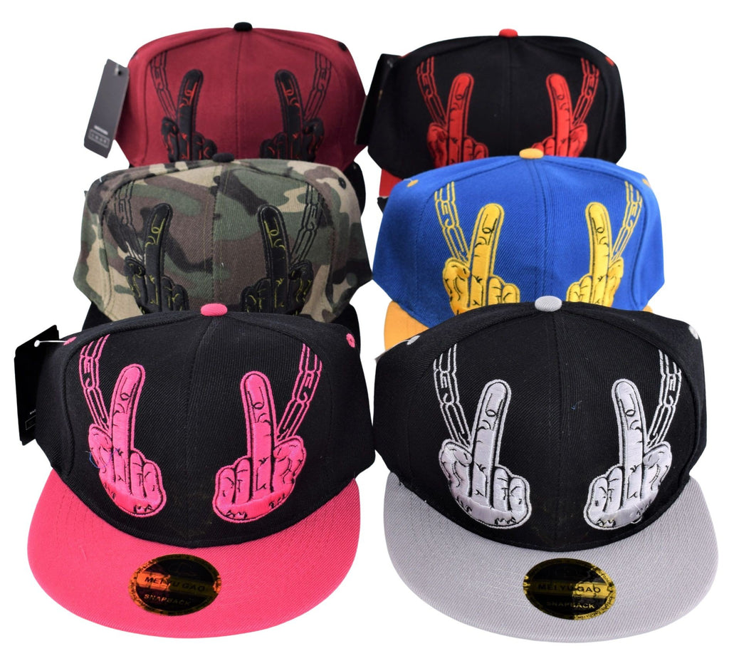"""Middle Finger"" Snap Back Flat Bill - (1 Count) - Lake shore vibe"