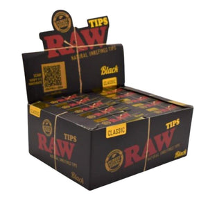RAW Black Perforated Tips (50 Count Display)
