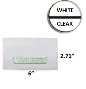 Mylar Bag Pouch 6 x 2.71 White/Clear Preroll With Disclaimer (100, 500, or 1,000 Count)