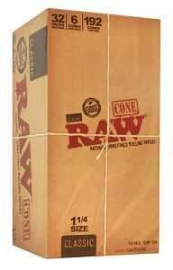 Raw Classic Unrefined Cones (6 Count) 32 Pack 1 1/4
