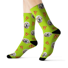 Load image into Gallery viewer, custom dog socks with pizza