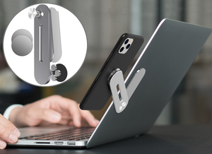 Dual Monitor Magnetic Side-Mount Clip -  Laptop Side Bracket & Adjustable Phone Holder