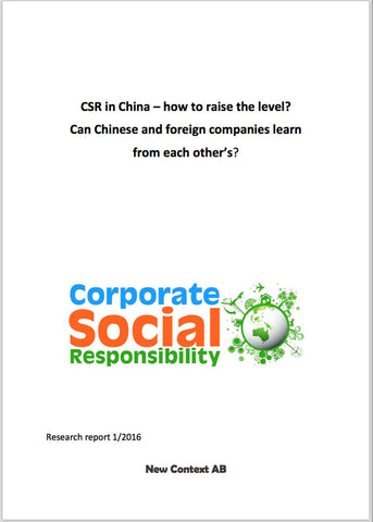 Rapport: CSR in China - how to raise the level?