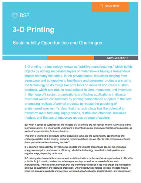 Rapport:  3-D Printing Sustainability Opportunities and Challenges