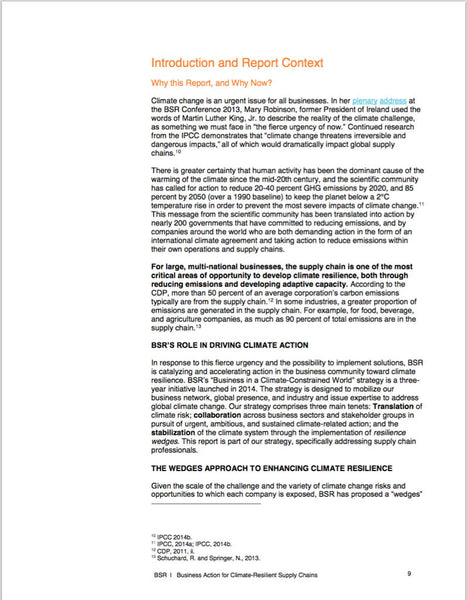 Rapport: Business Action for Climate - Resilient Supply Chains