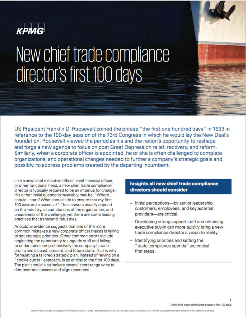 Guide: New chief trade compliance director's first 100 days