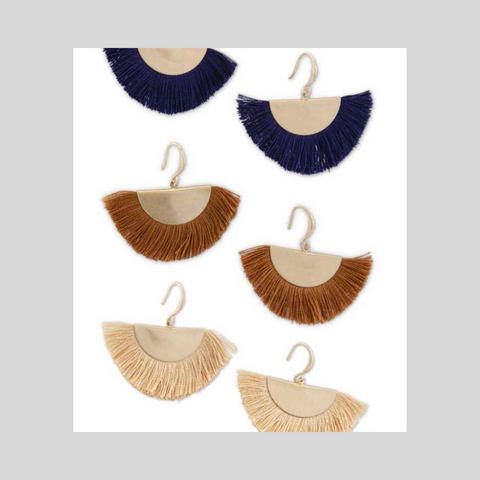 Earth Tone Fan Tassel Earring