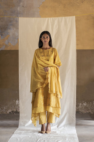 Yellow Scallop Dupatta