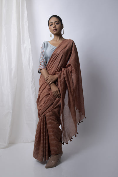 Walnut Saree with Embroidered Blouse