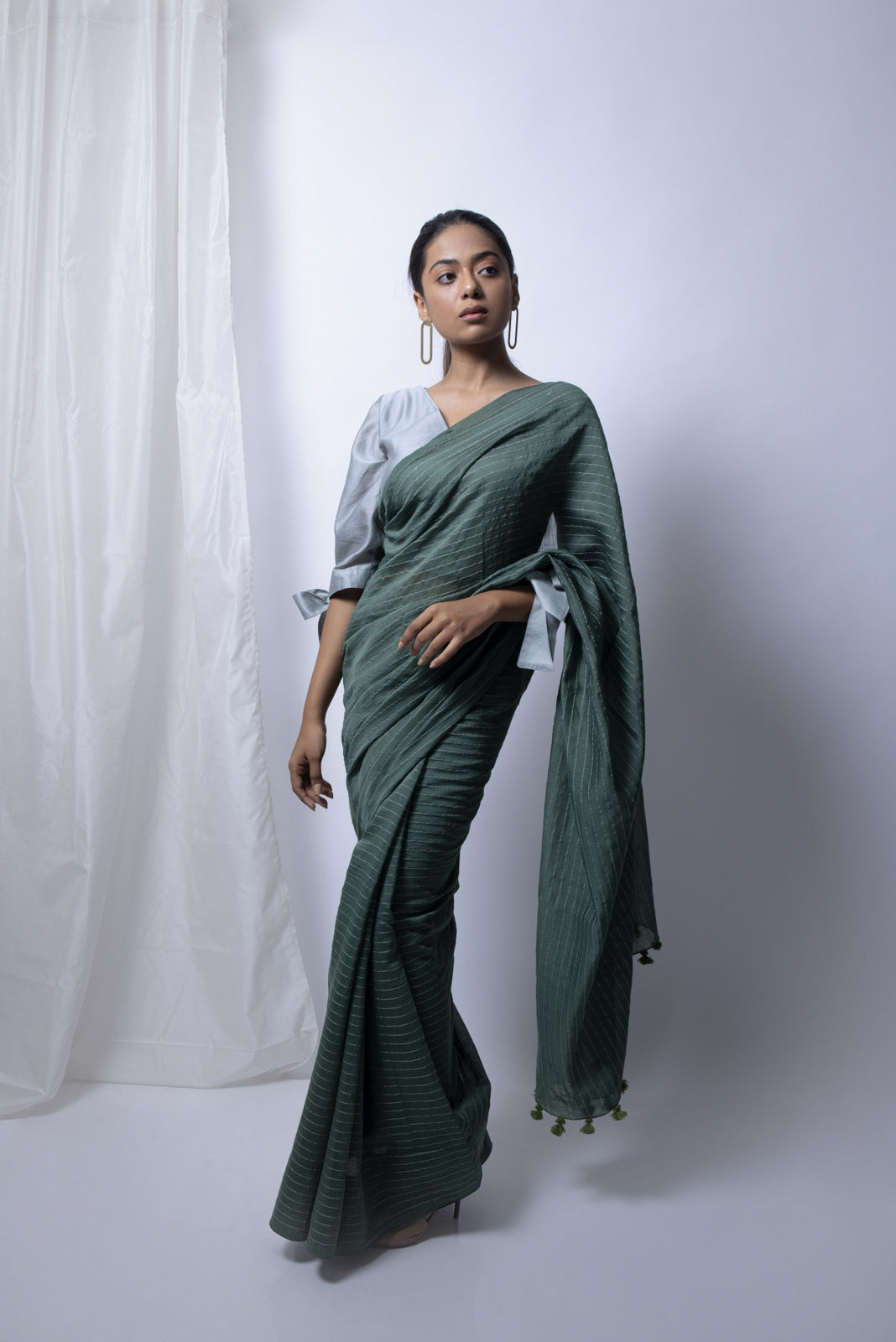Forest Green Saree with Silver Blouse