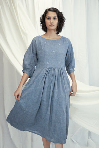 Powder Blue Mulmul Dress with Slip