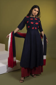 Indigo lotus applique kalidaar with striped palazzos and dupatta