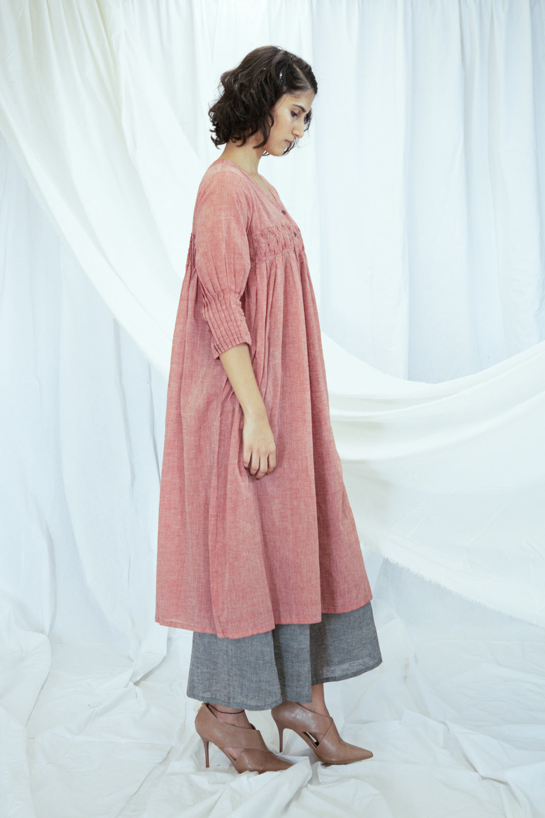 Red Tucks Detail Mulmul Tunic with Grey Palazzos