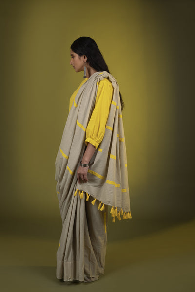 Beige yellow dashes saree