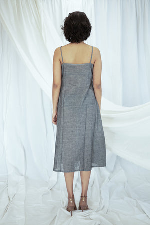 Grey Pin Tucks Mulmul Tunic with Slip