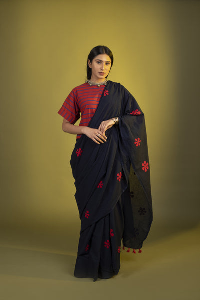 Indigo Red floral Saree